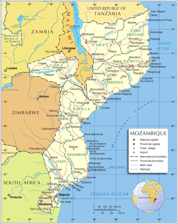 Det Nordlige Mozambique Kort Kort Over Det Nordlige Mozambique