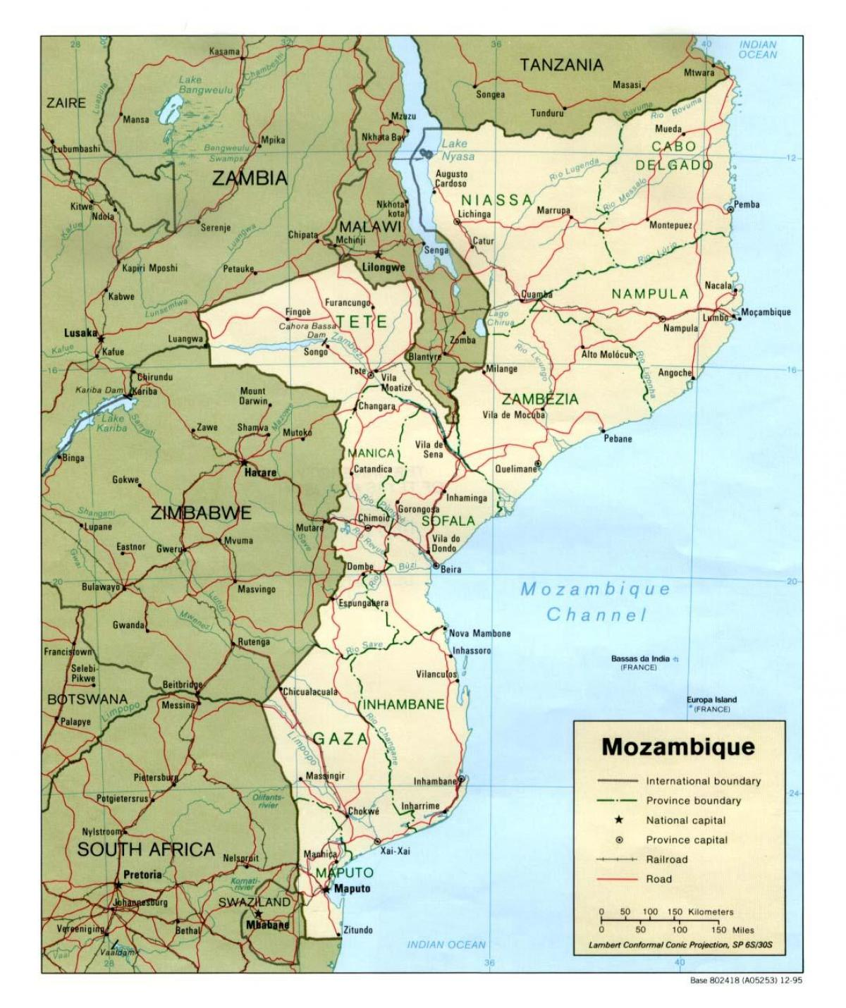 kort over Mozambique veje