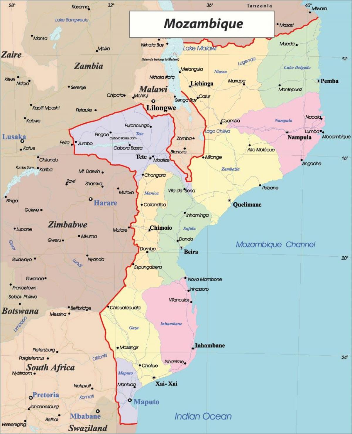 Kort Over Mozambique Mozambique I Kort Ostlige Afrika Afrika