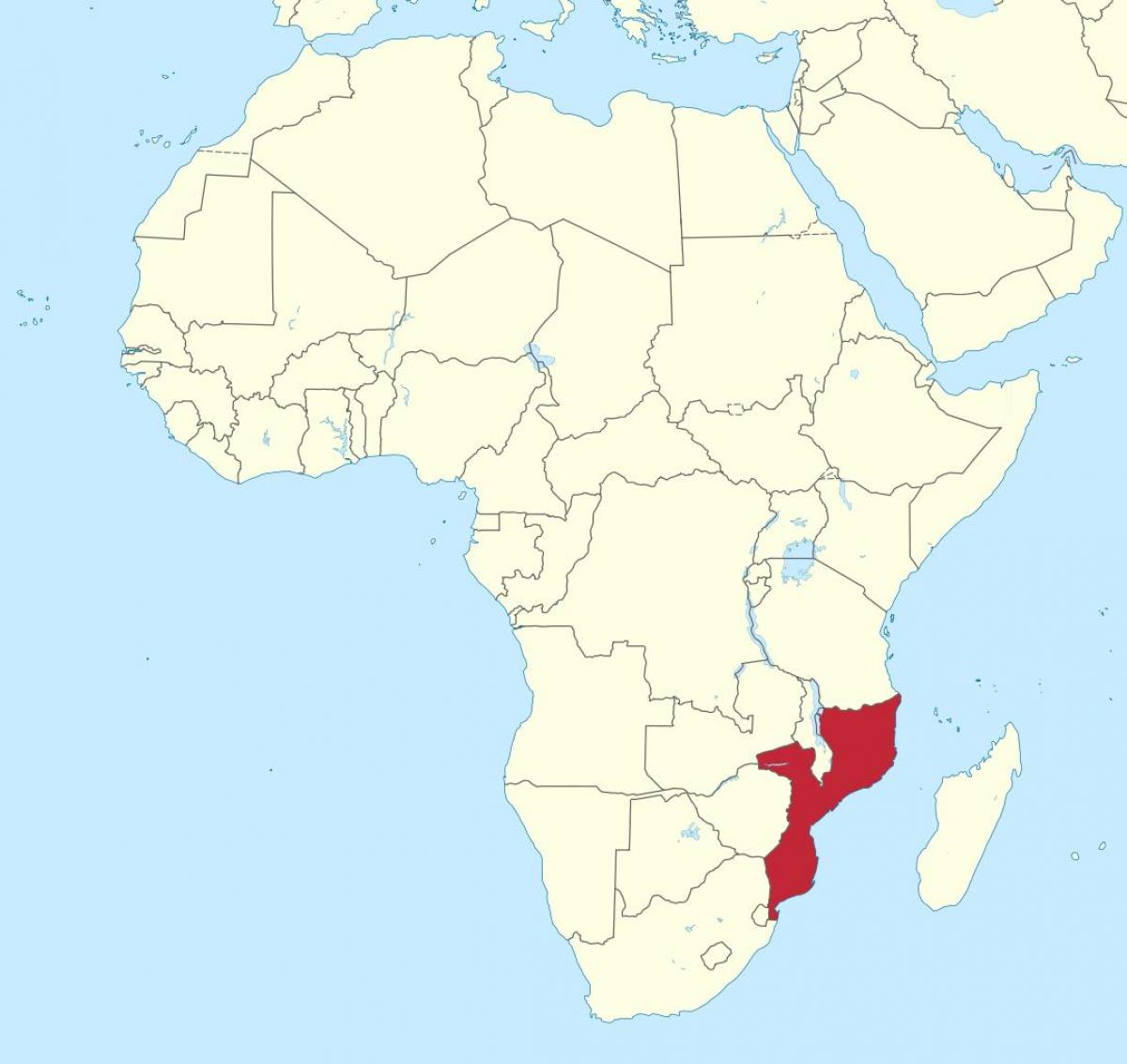 Mozambique I Afrika Kort Kort Over Mozambique I Afrika Ostlige