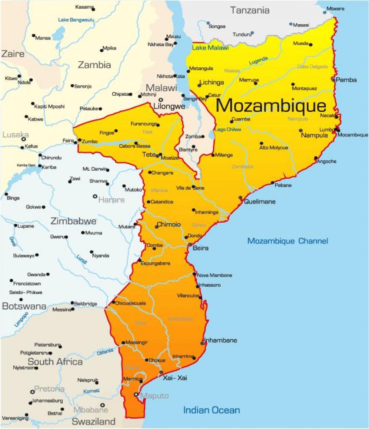 Mozambique Kort Kort Over Mozambique Ostlige Afrika Afrika
