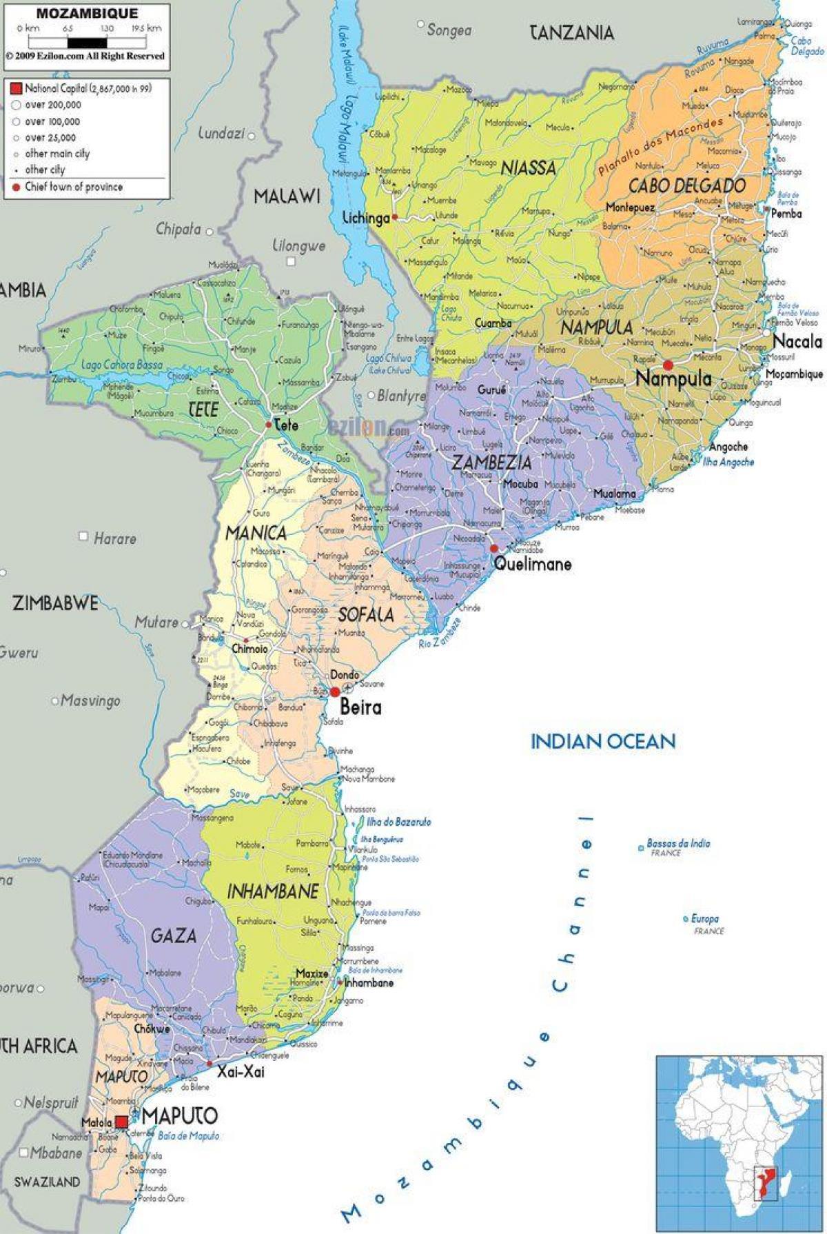Mozambique Strande Kort Kort Over Mozambique Strande Ostlige